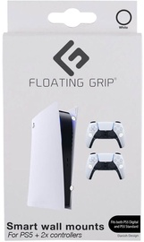 Floating Grip PS5 Wall Mount + 2 Controller Wall Mounts White