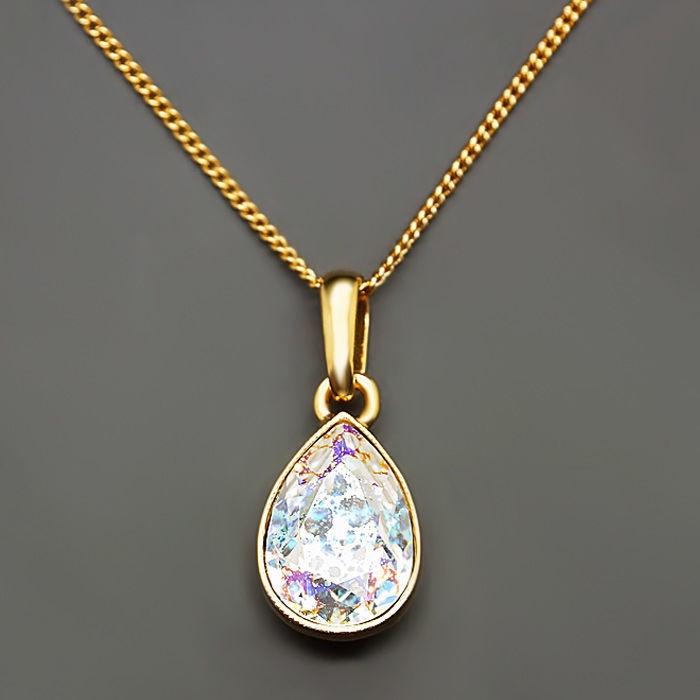 Diamond Sky Pendant Crystal Drop White Patina With Swarovski Crystals