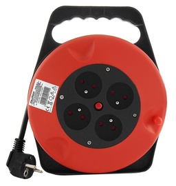 Qoltec Cable Reel 4 Outlets Red 10m