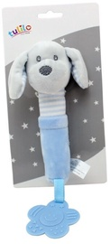 Axiom New Baby Plush Toy With Sound And Teether Dog Blue 17cm