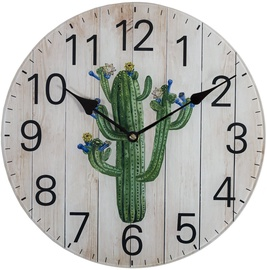 Home4you Wall Clock Nature D30cm Cactus 83783