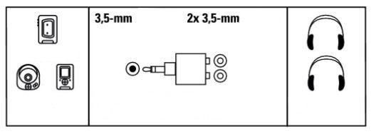 Hama Adapter Jack 3.5mm to Jack 3.5mm x2 Black