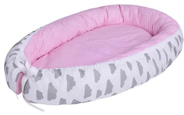 Lulando Multifunctional Baby Nest Pink With Dots/White With Grey Clouds