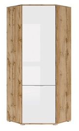 Black Red White Zele Corner Wardrobe Wotan Oak/White Gloss