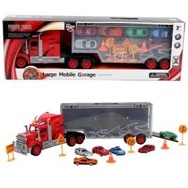 Sunkvežimis - didelis mobilus garažas su automobiliukais