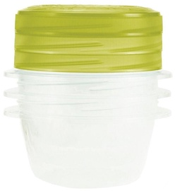Curver Food Container Set 3PCS Round 0.5L Take Away Twist Green