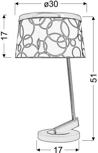 Candellux Imresja 60W E27 Table Lamp White Chrome