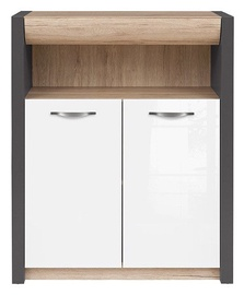 Black Red White Chest of Drawers Executive Gray/San Remo Oak/White