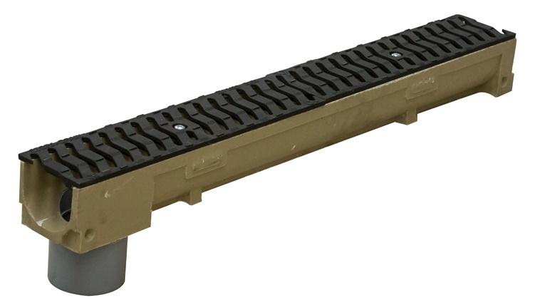 Элемент лотока с решеткой ковкого чугуна и пвх трубой h100
