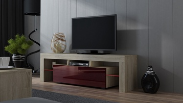 TV-laud Pro Meble Milano 160 With Light Sonoma Oak/Red, 1600x350x450 mm
