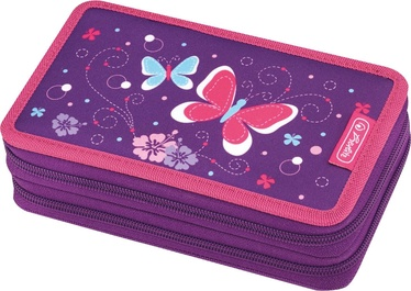 Herlitz Double Pencil Case 23Pcs Purple Butterfly