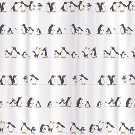 Vannas istabas aizkars Tatkraft Penguins, balta/melna, 1800 mm x 1800 mm