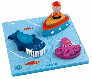 Djeco Relief Wooden Puzzle 123 Moby DJ01046