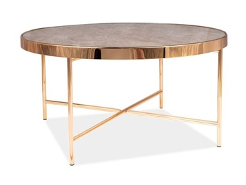Kafijas galdiņš Signal Meble Modern Fortuna B, zelta/balta, 820x820x400 mm
