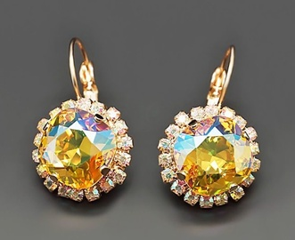 Diamond Sky Earrings Glare III Light Topaz Shimmer With Swarovski Crystals