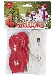 Воздушный шар VIBORG Christmas, белый/красный, 4 шт.