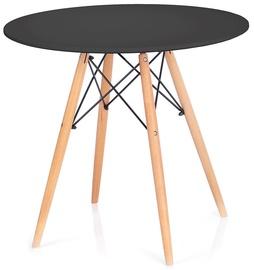Обеденный стол Homede Tebe, черный/дубовый, 650x650x720мм