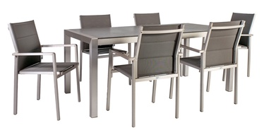 Home4you Cedric Table And 6 Chair Set Grey