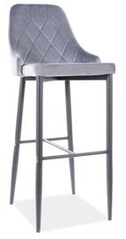Bāra krēsls Signal Meble Trix B H-1 Velvet, melna/pelēka
