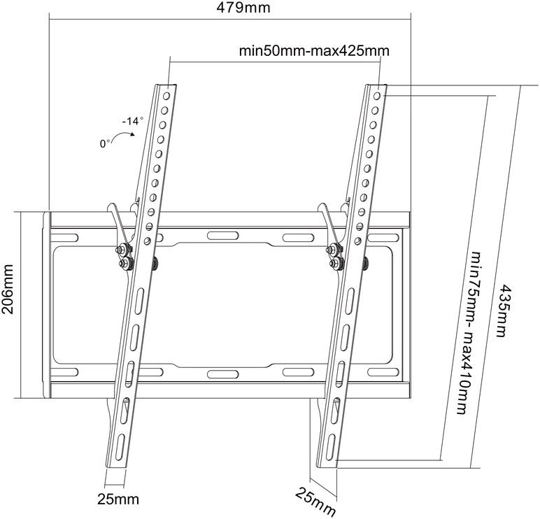 "Teleri seinakinnitus Standart LP34-44T, 32-55"", 35 kg"
