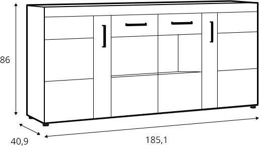 Kumode MN Cnak 04, 185.1x40.9x86 cm