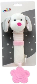Axiom New Baby Plush Toy With Sound And Teether Dog White 17cm
