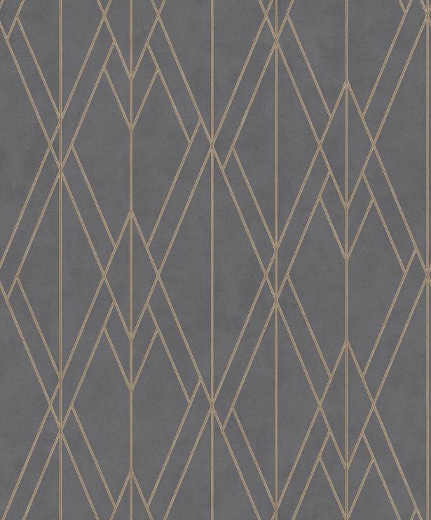 Tapetas flizelino pagrindu, BN, 219712, Finesse, antracito spalvos, geometrinis