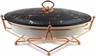 Mondex Elegant Kitchen Dish With Heater Oval Black Marble 2.6l