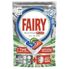 Indaplovių kapsulės Fairy Allin1 Platinum Plus Lemon Quick Wash, 45 vnt.