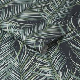 Tapetas flizelino pagrindu, Graham & Brown,100558, Paradise, juodas su žaliomis palmėmis