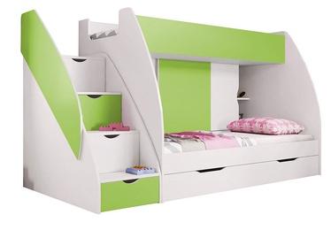 Dviaukštė lova Idzczak Meble Marcinek White/Lime, 255x125 cm