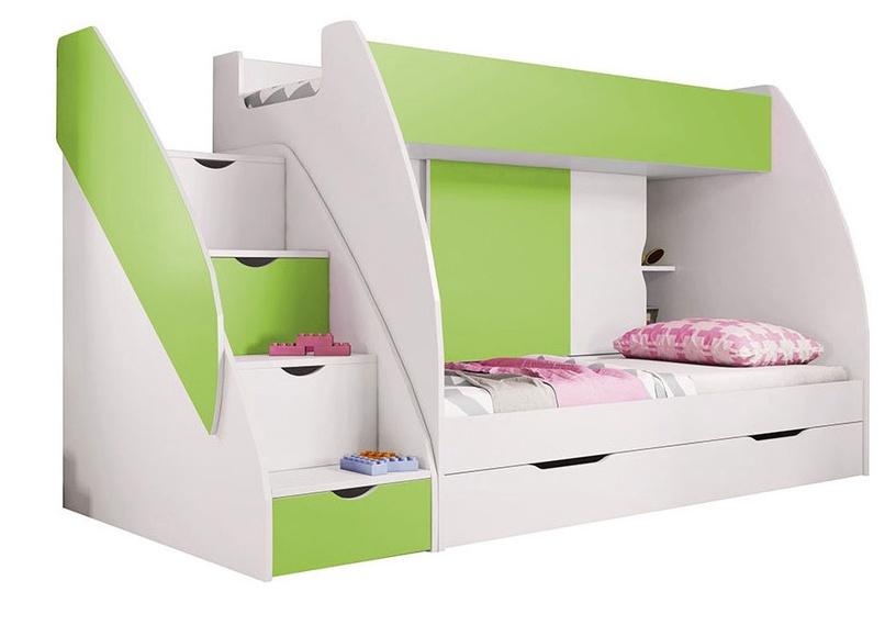 Divstāvīga gulta Idzczak Meble Marcinek White/Lime, 255x125 cm