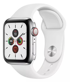 Apple Watch Series 5 40mm GPS Silver Stainless Steel Case with White Band Cellular