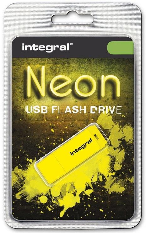 USB atmintinė Integral Neon Yellow, USB 2.0, 8 GB
