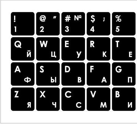 Mocco Keyboard Sticks ENG/RU With Laminated Waterproof Level White/White