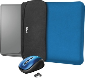 "Trust Yvo Reversible 15.6"" Laptop Sleeve + Wireless Mouse Blue"