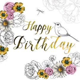 Clear Creations Mustard & Pink Birthday Card CL1403