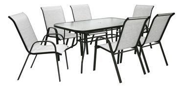 Комплект уличной мебели Home4you Dublin K11871, серый/серебристый, 6 места