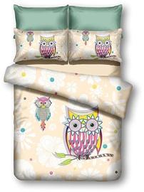 Gultas veļas komplekts DecoKing Owls, daudzkrāsains, 155x220/80x80 cm