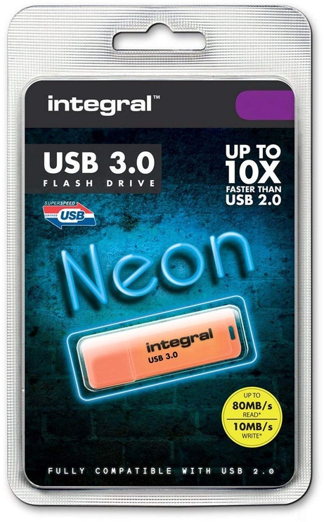 USB atmintinė Integral Neon Orange, USB 3.0, 32 GB