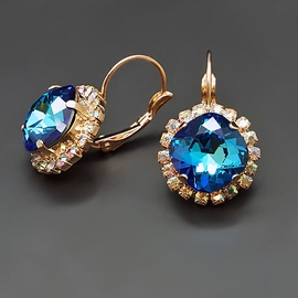 Diamond Sky Earrings Glare III Bermuda Blue With Swarovski Crystals