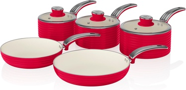 Swan Retro 5 Piece Pan Set SWPS5020RN Red