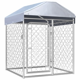 Koerapuur VLX Outdoor Dog Kennel w/ Roof Silver, 1000x1000x1250 mm