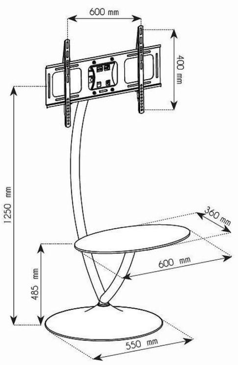 Techly Floor Stand with Shelf 32 - 70''