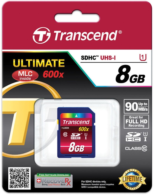 Transcend 8GB SDHC Ultimate Class 10 UHS-I 600x