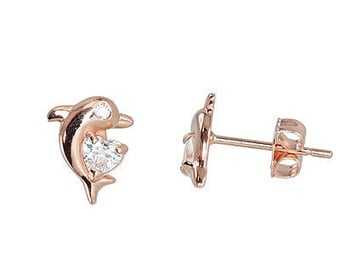 Diamond Sky Gold Earrings Dolphin Love VI