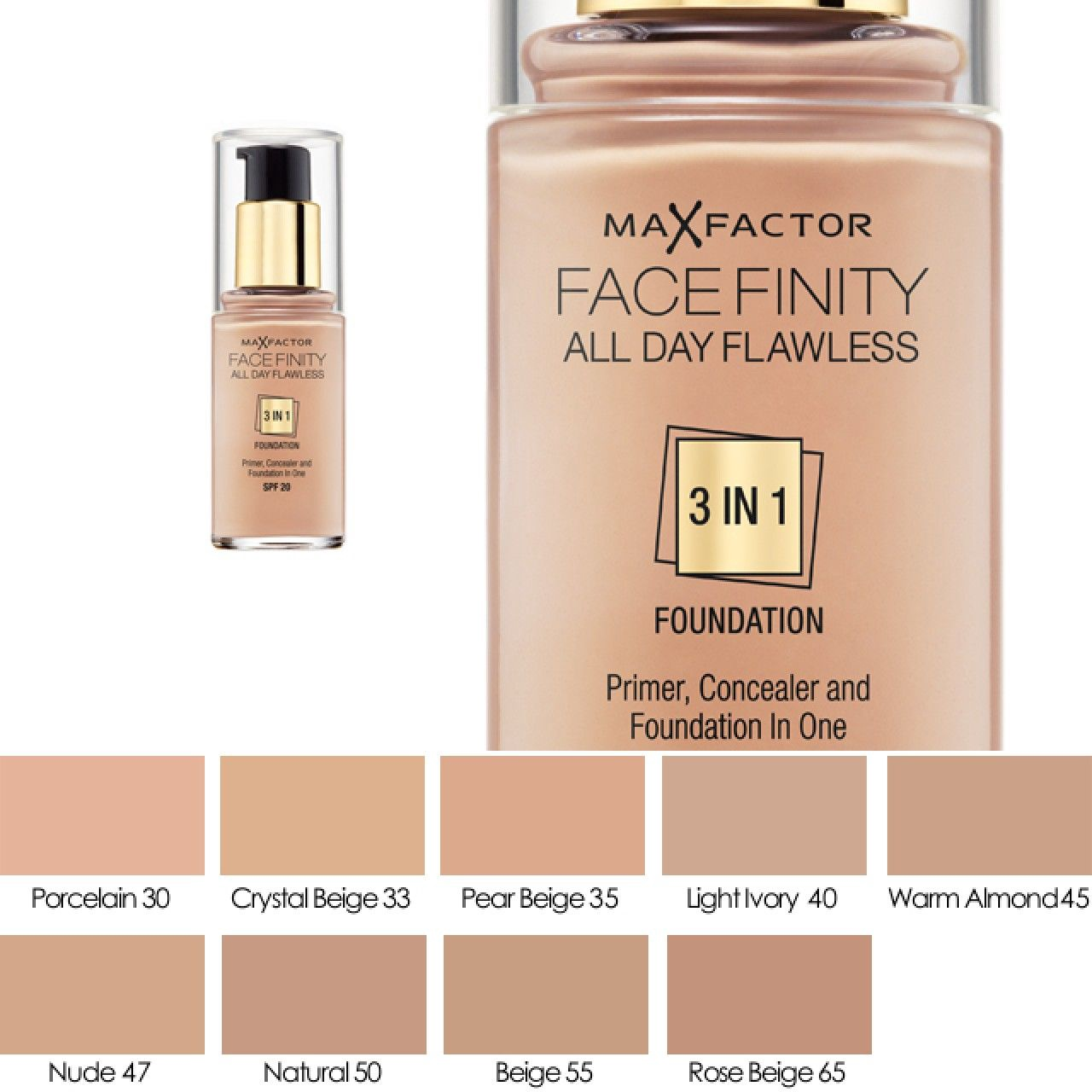 2652a7e7490 Max Factor Face Finity All Day Flawless 3in1 Foundation 30ml 47 ...
