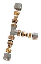 Išardomasis užveržiamas trišakis, TDM Brass, 20 x 20 x 16 mm