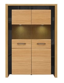 Black Red White Arosa LED Glass Cabinet Natural Oak/Black Gloss