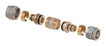 Išardomoji užveržiama jungtis, TDM Brass, dviguba, 16 x 16 mm